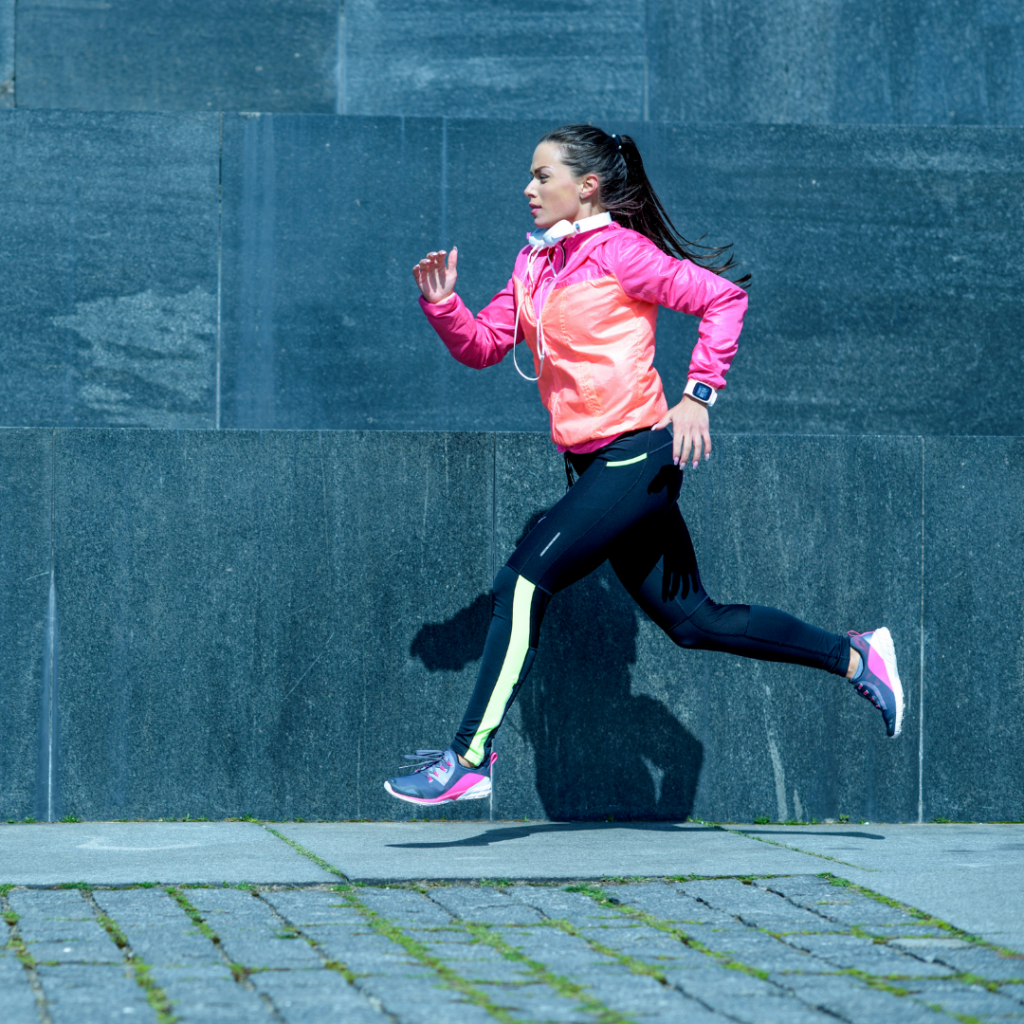A female athlete with iron deficiency training outside